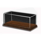 Long Rectangular Display Case with Hardwood Base