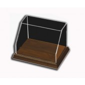 Rectangular Angled Front Display Case with Hardwood Base