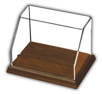 Rectangular Angled Front Display Case with Hardwood Base